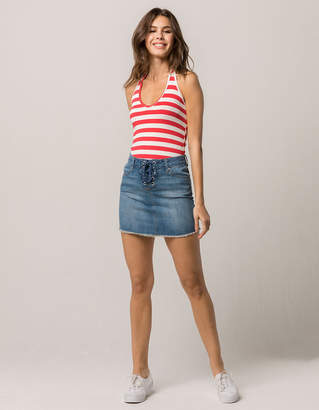Sky And Sparrow Grommet Lace Up Denim Skirt