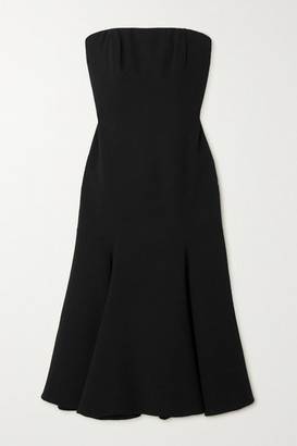 Valentino Strapless Wool-blend Crepe Midi Dress - Black