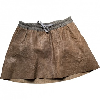 Rick Owens Brown Leather Skirt for Women Vintage
