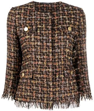 Tagliatore Collarless Tweed Jacket