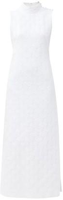 Gioia Bini Tilla High-neck Jacquard Dress - White