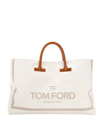 Tom Ford Large Printed Canvas and Leather Top-Handle Tote Bag