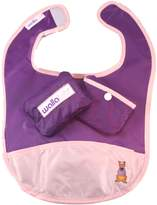 Wallabib Pocket Bib for the Baby on the Go - Mess Free Travel Pouch (Purple)