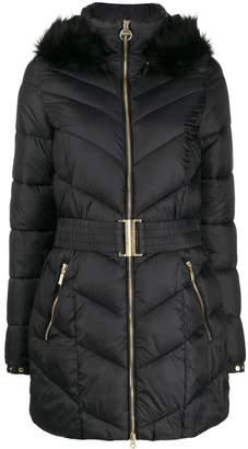 Barbour belted puffer coat