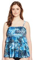 Fit 4 U Women's Plus-Size Scattered Elements Mesh 3 Tier Bandeau Tankini