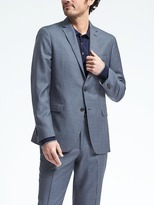 Banana Republic Slim Blue Plaid Wool Suit Jacket
