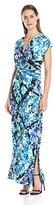 MSK Women's Cap-Sleeve Zipper Front Printed Maxi Dress