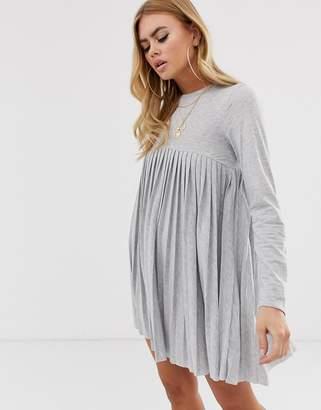 Asos Design DESIGN pleated smock dress-Grey