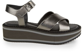 Clergerie Fara Metallic Leather Platform Wedge Sandals