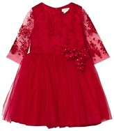 David Charles Red Tulle Floral Embroidered Dress