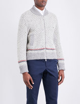 Thom Browne Striped-detail wool and mohair-blend bomber jacket