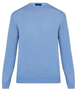 Prada Crew Neck Wool Sweater - Mens - Blue