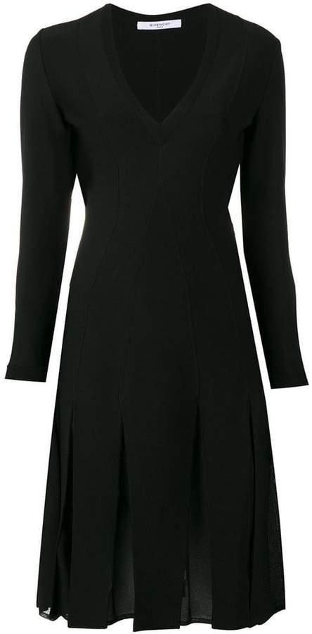 Givenchy pleated skirt V-neck dress