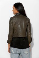 Members Only Snap-Front Leather Trucker Jacket