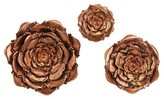 Aurora Copper Flowers Decorative Wall Sculpture - Set of 3