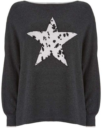 Mint Velvet Charcoal Dalmatian Star Jumper