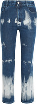Stella McCartney Cropped Tie-dyed High-rise Bootcut Jeans - Mid denim