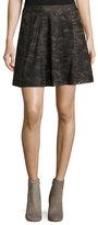 Haute Hippie Sagat Camo Silk Mini Skirt W/ Grommets