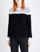 St. John Contrast-panel knitted jumper