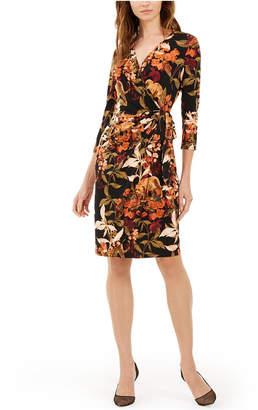 INC International Concepts Inc Petite Jungle Print Faux Wrap Dress