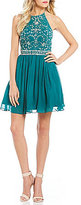 B. Darlin Halter Neckline Beaded Bodice Party Dress