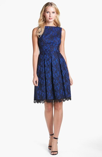 Isaac Mizrahi New York Bonded Lace Fit & Flare Dress