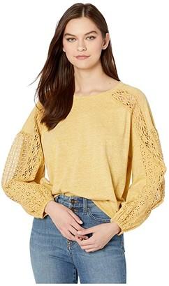 Miss Me Balloon Sleeve Pullover (Mustard Yellow) Women's Clothing