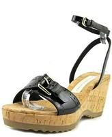 Stella McCartney Lorien Open Toe Patent Leather Wedge Sandal.