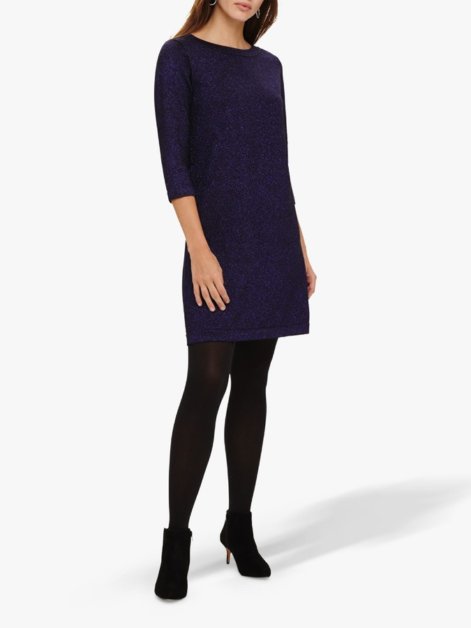 Phase Eight Sherri Knit Dress, Deep Purple