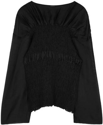 Totême Coripe black smocked linen-blend blouse