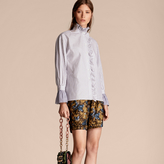 Burberry Pinstriped Cotton Shirt with Ruffles