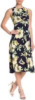 Vince Camuto Floral Front Twist Midi Dress