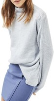 Topshop Women's Mixed Rib Funnel Sweater