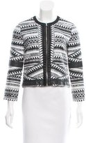Yigal Azrouel Leather-Trimmed Patterned Jacket
