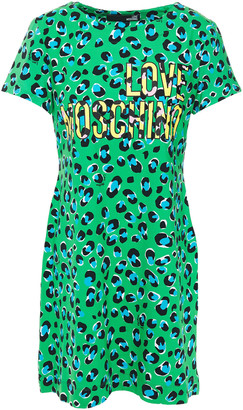 Love Moschino Leopard-print Stretch-cotton Jersey Mini Dress