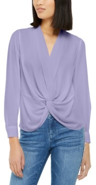 INC International Concepts Inc Solid Twist-Front Blouse, Created for Macy's