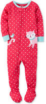 Carter's 1-Pc. Dot-Print Cat Footed Pajamas, Baby Girls (0-24 months)