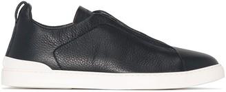 Ermenegildo Zegna Pebbled Leather Slip-On Sneakers