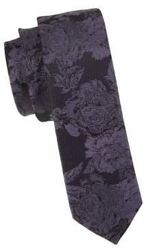 Black & Brown Black Brown Textured Floral Slim Tie