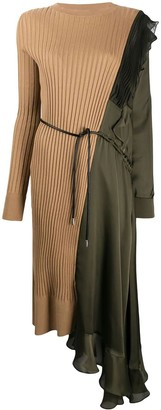 Sacai Green And Beige Paneled Asymmetric Dress