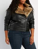 Charlotte Russe Plus Size Faux Fur-Trim Moto Jacket