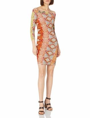 Just Cavalli Women's Iridescent Python Print Off Shoulder Dress