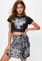 Missguided Petite Black Paisley Print Satin Skirt, Black