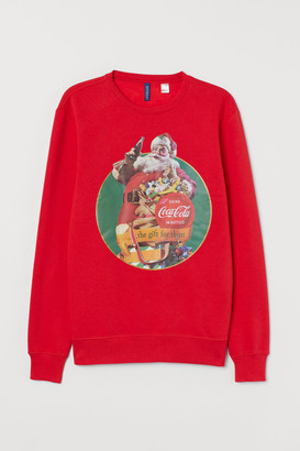 H&M Sweatshirt with Printed Design - Red