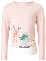 John Lewis Girls' Christmas Scene Long Sleeve Top, Pink