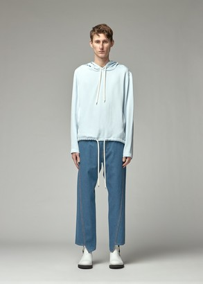 Lanvin Men's Oversized Cord Hoodie in Blue Size 40 Viscose/Silk