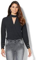 New York & Co. Mock-Neck Keyhole Shirt