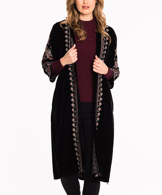 Paparazzi Women's Ponchos BLACK - Black Floral & Geometric Embroidered Velvet Open Duster - Women