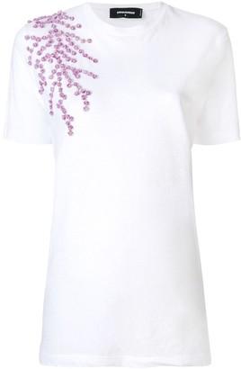 DSQUARED2 floral applique T-shirt