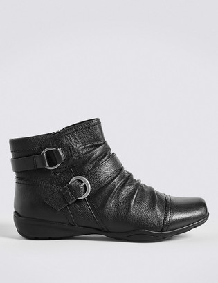 Marks and Spencer Wide Fit Leather Ruched Ankle Boots